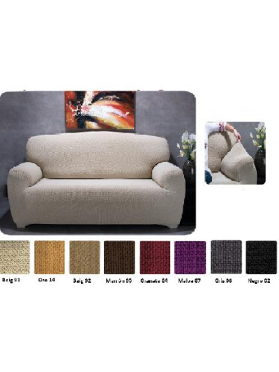 Funda de sofá lisa elástica
